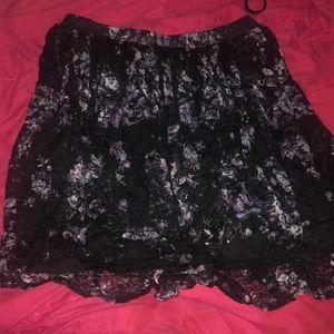 Purple plus size floral skirt